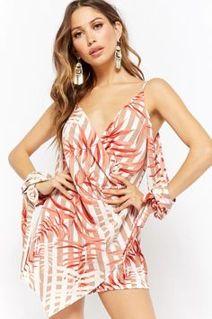 Product Name:Striped Leaf Print Romper, Category:dress, Price:38
