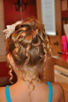 Flower girl updo curled Hair By Cindy