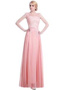 Lactraum Brautjungfernkleid Ballkleid Abendkleid Abschlussball Kleider Hochzeitskleider Abiballkleid Spitze Pailletten Rosa Rot Armlos LF4050 (34, Rosa)