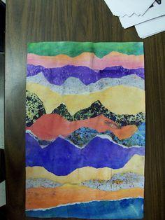 Torn Paper Landscapes - good project for line lesson.