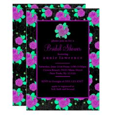 Stunning Purple Roses Bridal Shower Invitations
