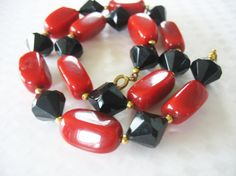 Vintage Lucite Beaded Necklace Red and Black Faceted by tubbytabby,