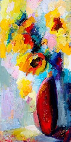 "Daily Paintworks - ""A study of sunflowers"" - Original Fine Art for Sale - © Lena Levin Sunflower Art, Acrylic Canvas, Flower Photos, Contemporary Paintings, Art For Sale, Landscape Paintings, Abstract Art, Sunflowers, Fine Art"