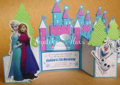 Frozen themed gate fold invitation, blue-white-purple combination.