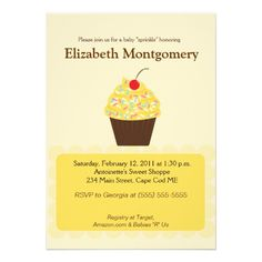 Yummy Cupcake Baby Shower Sprinkle 5x7 Invitation