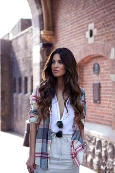 6 Le Fashion Blog Long Hair Inspiration Negin Mirsalehi Brunette Brown Wavy Big Waves Plaid Shirt Linen Skirt photo 6-Le-Fashion-Blog-Long-Hair-Inspiration-Negin-Mirsalehi-Brunette-Brown-Wavy-Big-Waves-Plaid-Shirt-Linen-Skirt.jpg