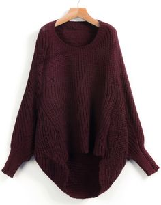 Shop Red Dipped Hem Ribbed Lose Sweater online. Sheinside offers Red Dipped Hem Ribbed Lose Sweater & more to fit your fashionable needs. Free Shipping Worldwide!