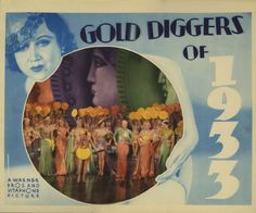 Lobby card for Gold Diggers of 1933 (1933) starring  Joan Blondell, Ruby Keeler, Dick Powell, Ginger Rogers and Warren William.