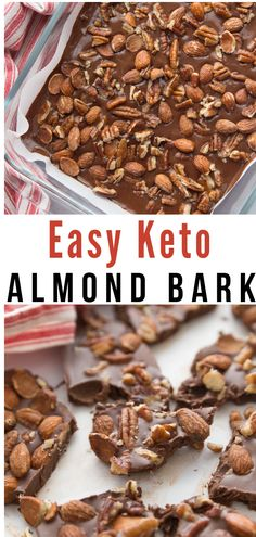 This Keto Easy Chocolate Almond Bark recipe is a like a homemade candy bar with all your favorites. This Keto Easy Chocolate Almond Bark recipe is like a homemade candy bar with all your favorites. Low Carb Sweets, Low Carb Desserts, Low Carb Recipes, Bread Recipes, Diet Recipes, Flour Recipes, Lamb Recipes, Snacks Recipes, Healthy Recipes