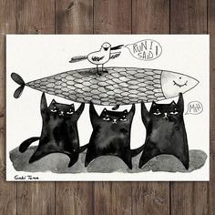 #Inktober day 11 - #Run Well...the black cat gang just stole a giant sardine from the fish market....and, guided by their leader (seagull Stan) they're trying to make a run for it.... #illustration #inktober2017