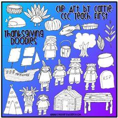 C & C Teach First: Thanksgiving Doodles Clip Art