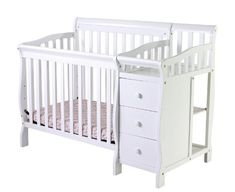 Dream On Me Jayden 4 in 1 Convertible Mini/Portable Crib with Changer, White