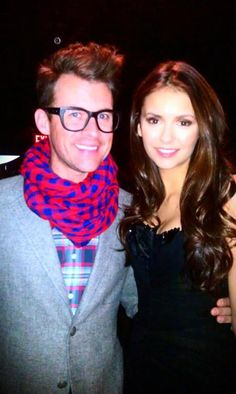 Brad Goreski and Nina Dobrev are all smiles at Christian Siriano