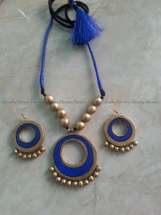 Blue Terracotta Jewelry-Simple silk thread wrapped jewelry-Terracotta jewellery-Thread wrapped Necklace set-Indian jewelry by NIRMITY on Etsy
