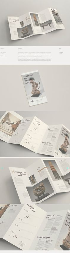 MUSEUM OF PACIFIC ARTS – A concertina style information guide for Museum Of Pacific Arts. brochure design,brochure template,b. Brochure Indesign, Template Brochure, Corporate Brochure Design, Brochure Layout, Layout Design, Print Layout, Flyer Design, Brosure Design, Pamphlet Design