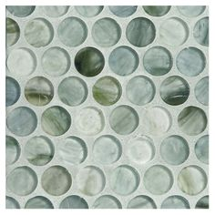 """Complete Tile Collection Zumi Glass Mosaic - Seacliff Mist - Silk, 3/4"""" Penny Round Recycled Glass Mosaic, MI#: 038-G2-263-551, Color: Seacliff Mist"""