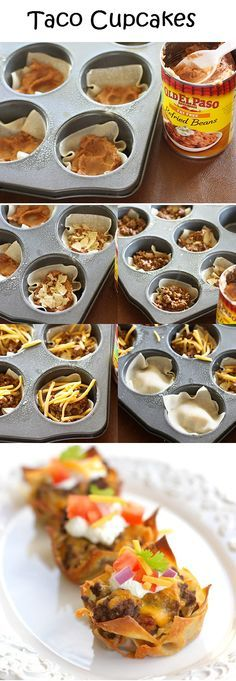Taco Cups - I like this idea, but I would prefer to use Rosarita refried beans - or mash up a few organic Pinto beans. I like them a little chunky!