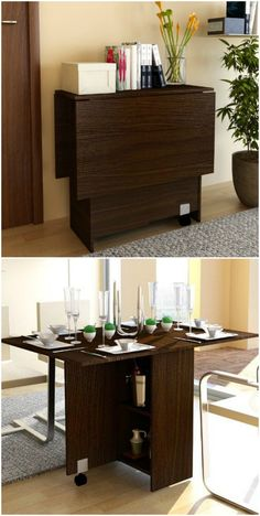 A console that can be turned into a dining table that comfortably seats 12 guests or a dining table that can do double duty as a desk. There are a lot of wonderful dining tables that work great in homes with limited space. Small convertible wall table with two chairs ($291.99). This table takes up minimal …