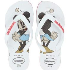 MINNIE MOUSE Havaianas sandals RARE!  For the Disney Minnie Mouse Enthusiast these Havaianas flip flop sandals are a MUST HAVE!!!  These are size USA 3.  Worn 1 time.  PERFECT FOR SUMMER AND THE BEACH👙👙👙👣👣👣. Synthetic strap feature logo detail.  Thing slip-on construction.  Padded footbed with vintage Disney Minnie Mouse graphic. Flexible rubber sole.  Made in Brazil. Havaianas Shoes Sandals & Flip Flops