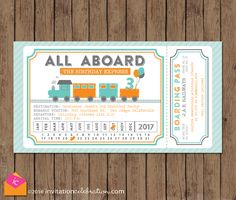 Modern Vintage Train Party Invitation.  Turquoise, Orange & Gray.  Have us print & we'll hand punch the month & date just as though a real conductor did :)  #trainparty #allaboard   http://www.invitationcelebration.com/birthday-1/train-ticket-birthday-party-invitation