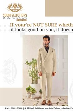 👉If You're Not Sure Whether It Looks Good on You, it Doesn't. 👉To buy the latest and Luxury Men's Wear, Visit Sodhi Selections #Contactno : +91-99881-77088 #Address: GT Road, Near Hotel Dolphin, Jalandhar, Punjab -144001 Best Suits for Men | Coat Suit For Men | Track Suits for Men | Sodhi Selections Formal Smart Casual, Formal Attire For Men, Look Formal, Best Suits For Men, Cool Suits, Mens Suits, Blazer For Men Wedding, Wedding Suits, Blazers For Men Casual