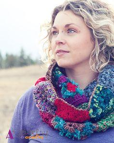Eternity scarf bohemian hand crochet rainbow by APlusJewelryCrafts, $40.00