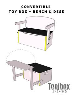 3 in 1 convertible Kids Bench + Toy box storage that converts into a desk. Organize the clutter in the kids room with multi-functional furniture for kids furniture farmhouse Desk and Bench Set w/Toy Box Storage - ToolBox Divas Easy Woodworking Projects, Woodworking Furniture, Furniture Plans, Rustic Furniture, Cheap Furniture, Woodworking Plans, Furniture Stores, Discount Furniture, Furniture Outlet