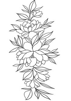 Sketch Style Tattoos, Tattoo Sketches, Tattoo Drawings, Diy Tattoo, Cover Up Tattoos, Art Drawings Sketches Simple, Tattoo Stencils, Flower Tattoo Designs, Leaf Tattoos