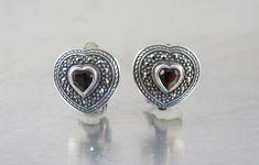 Sterling Garnet Heart Earrings. Marcasite Sterling Silver Garnet Heart Clip On Earrings. January Birthstone Jewelry, Clip On Earrings