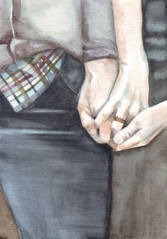 Original watercolor painting of holding hands art by HelgaMcL, $22.00