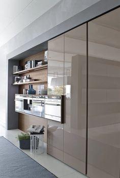 Cozinha lacada com ilha SYSTEM | Composition 05 Coleção System by Pedini