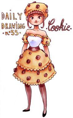 Cool Cartoon Drawings, Easy Disney Drawings, Cute Food Drawings, Cute Kawaii Drawings, Cartoon Art Styles, Cute Art Styles, Kawaii Art, Cookie Drawing, Drawings Pinterest