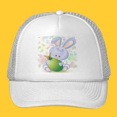 Easter Rabbit with Egg and Flowers Trucker Hats