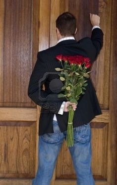 Photo about Man knocking on door to present flowers to his date on valentines day. Image of present, invite, roses - 4132839 Roses Tumblr, Date Dress Up, An Affair To Remember, Flower Quotes, Foto Pose, Love Images, Games For Girls, My Flower, Happy Valentines Day