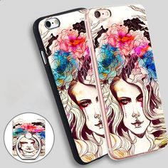 Watercolour Lady Phone Ring Holder Soft TPU Silicone Case Cover for iPhone 4 4S 5C 5 SE 5S 6 6S 7 Plus
