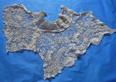 Antique Point de Gaze needle lace dress insert collar Edwardian costume gown   eBay