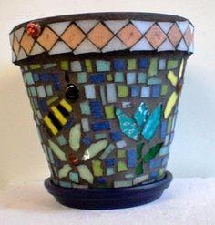 Mosaic Flower Pot -  Kassandra Salto - 17- Lake View H.S - Mosaic Collaborative - Spring Bridge 2013 - SOLD