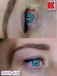 Basisopleiding eyeliner techniek. Eerste keer eyeliner door student. Www.skinquip.nl
