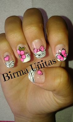 Stop the cuteness! Crazy Nails, Fancy Nails, Pink Nails, Pretty Nails, Valentine Nail Art, Luxury Nails, French Tip Nails, Flower Nail Art, Get Nails