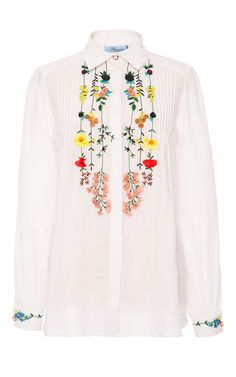 Yes! Could possibly DIY something like this as they are 3D flowers! Could hand-embroider the stems/leaves since I don't have an embroidery machine. DIY with Threadhead TV. ~Floral Embroidered Pintuck Shirt by Blumarine for Preorder on Moda Operandi