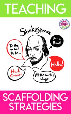 Reading Shakespeare's plays with students? Make the language attainable for all learners with these simple scaffolding strategies. #TeachingShakespeare #HighSchoolELA Middle School Reading, Middle School English, English Reading, Ap English, English Lessons, English Classroom, English Teachers, Brain Based Learning, British Literature