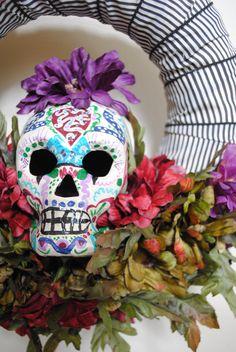Dia De Los Muertos Sugar Skull Wreath