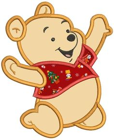 Baby Winnie the Pooh Applique Machine Embroidery Design 3 sizes instant download…