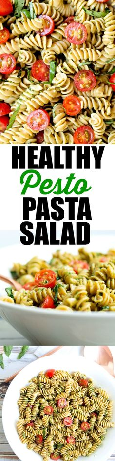 SUPER EASY Pesto Pasta Salad recipe. Yes, pasta salad can be healthy! Just over 300 calories per serving and only real food ingredients. Make this for your next potluck!