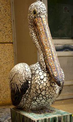 Pelican Mosaic - Sculptural mosaic project, Para West Adult Campus, Adelaide, via mosaicconcepts.webs.com