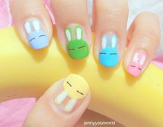Easter bunny painted fingernails