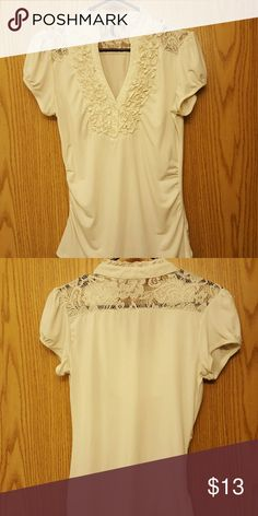Vintage Lace Cream Blouse Super Cute Cream Lace too Tops Blouses