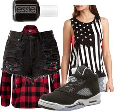 Jesy Inspired ft Oreo 5s by diva-from-above featuring high-waisted denim shorts  Charlotte Russe american flag t shirt / High-waisted denim shorts / Essie nail polish, $18 / River Island Boys red check flannel shirt, $17 / Air Jordan 5 Retro (GS) Oreo (Black/Cool Grey-White) Size 5.5Y