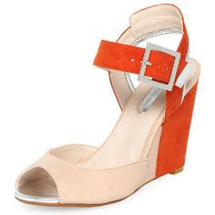 Coral and nude wedges - High Sandals - Sandals  - Shoes