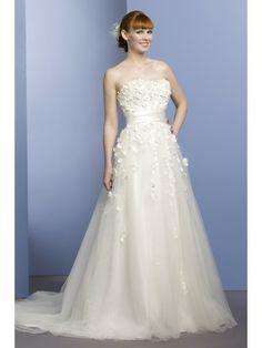 Satin Strapless Overlay Bodice Ball Gown Wedding Dress